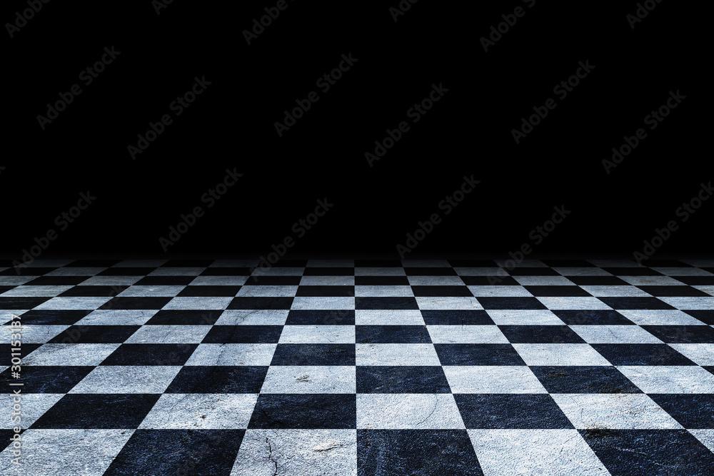 Fototapeta Black And White Checker floor Grunge Room. Checker floor empty space