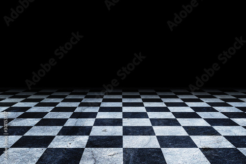 Canvas Print Black And White Checker floor Grunge Room