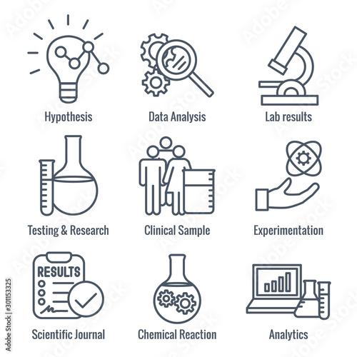 Obraz na płótnie Scientific Process Icon Set with hypothesis, analysis, etc