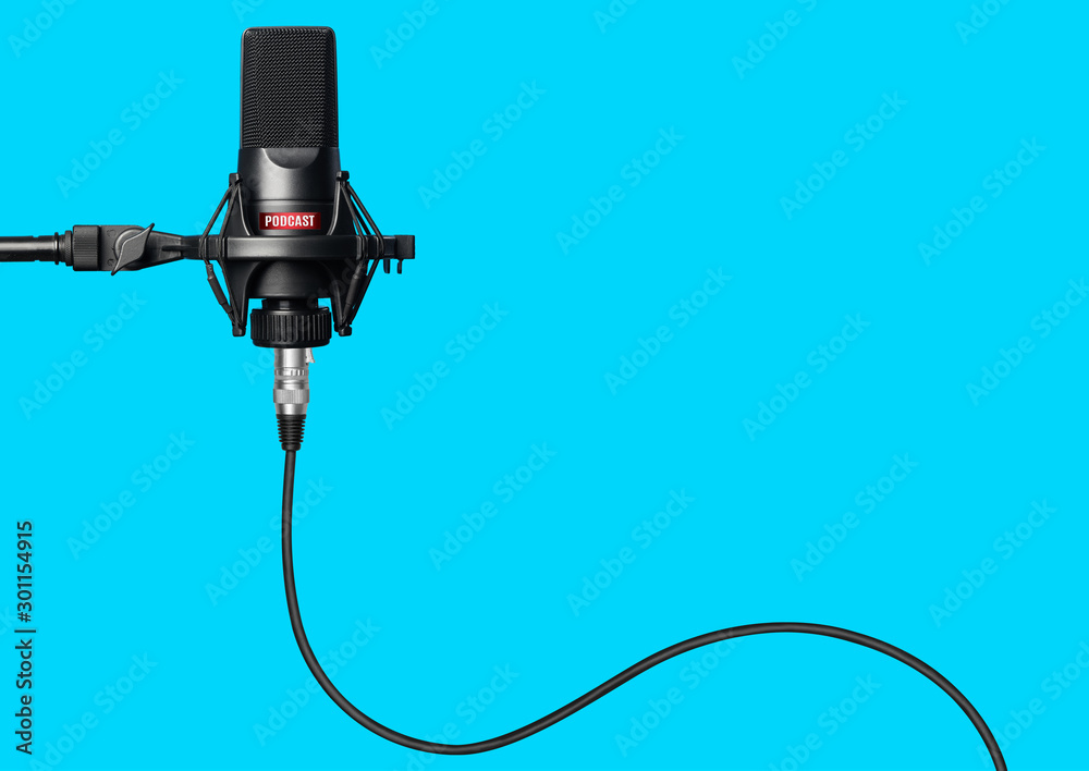Fototapeta Studio microphone for recording podcasts