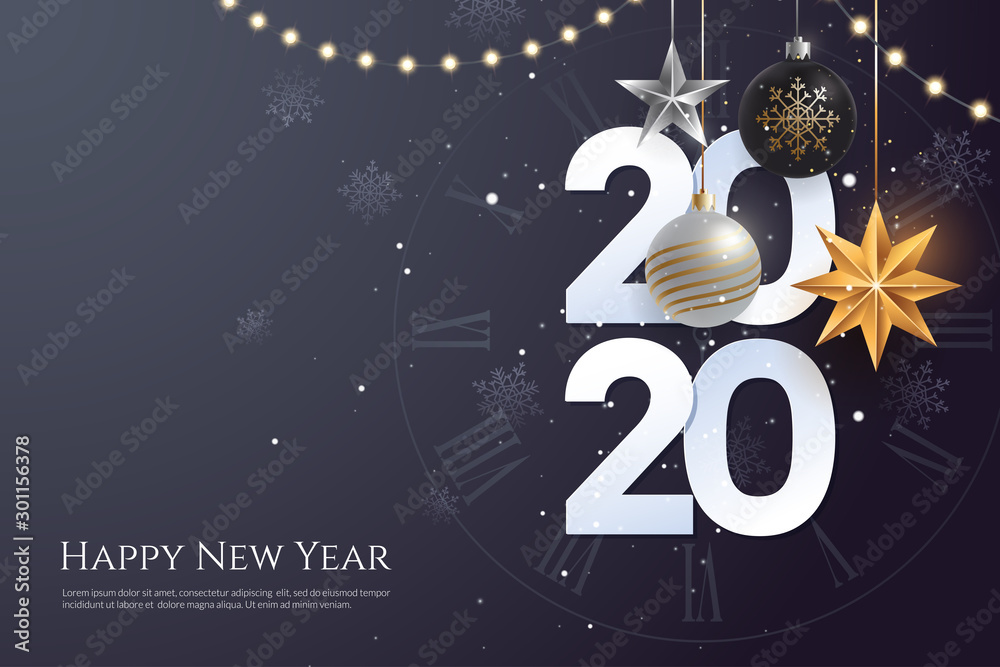 Fototapeta Happy new year 2020 greeting card template with copy space. Hanging Christmas toys and garlands with light bulbs on dark background. Winter Holiday banner concept. Vector eps 10.