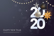Happy new year 2020 greeting card template with copy space. Hanging Christmas toys and garlands with light bulbs on dark background. Winter Holiday banner concept. Vector eps 10.