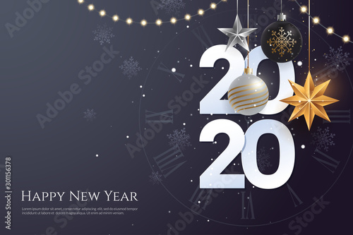 Fototapeta Happy new year 2020 greeting card template with copy space. Hanging Christmas toys and garlands with light bulbs on dark background. Winter Holiday banner concept. Vector eps 10. obraz