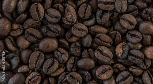 roasted coffee beans, can be used as a background - 301157924