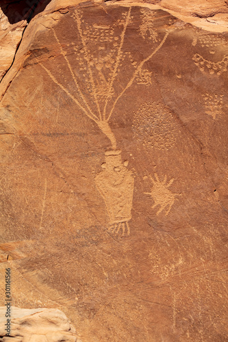 Detail of a part of the petroglyphs incised by the Fremont People in the sandsto Wallpaper Mural