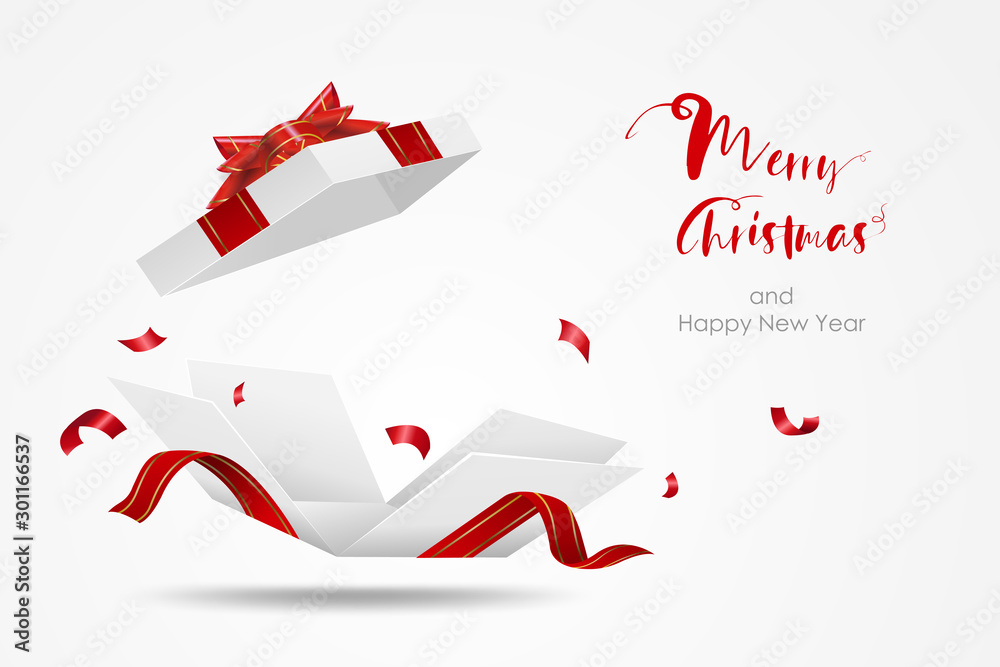 Fototapeta Surprise white gift box with red ribbon.  Open gift box isolated. Merry Christmas and Happy New Year.