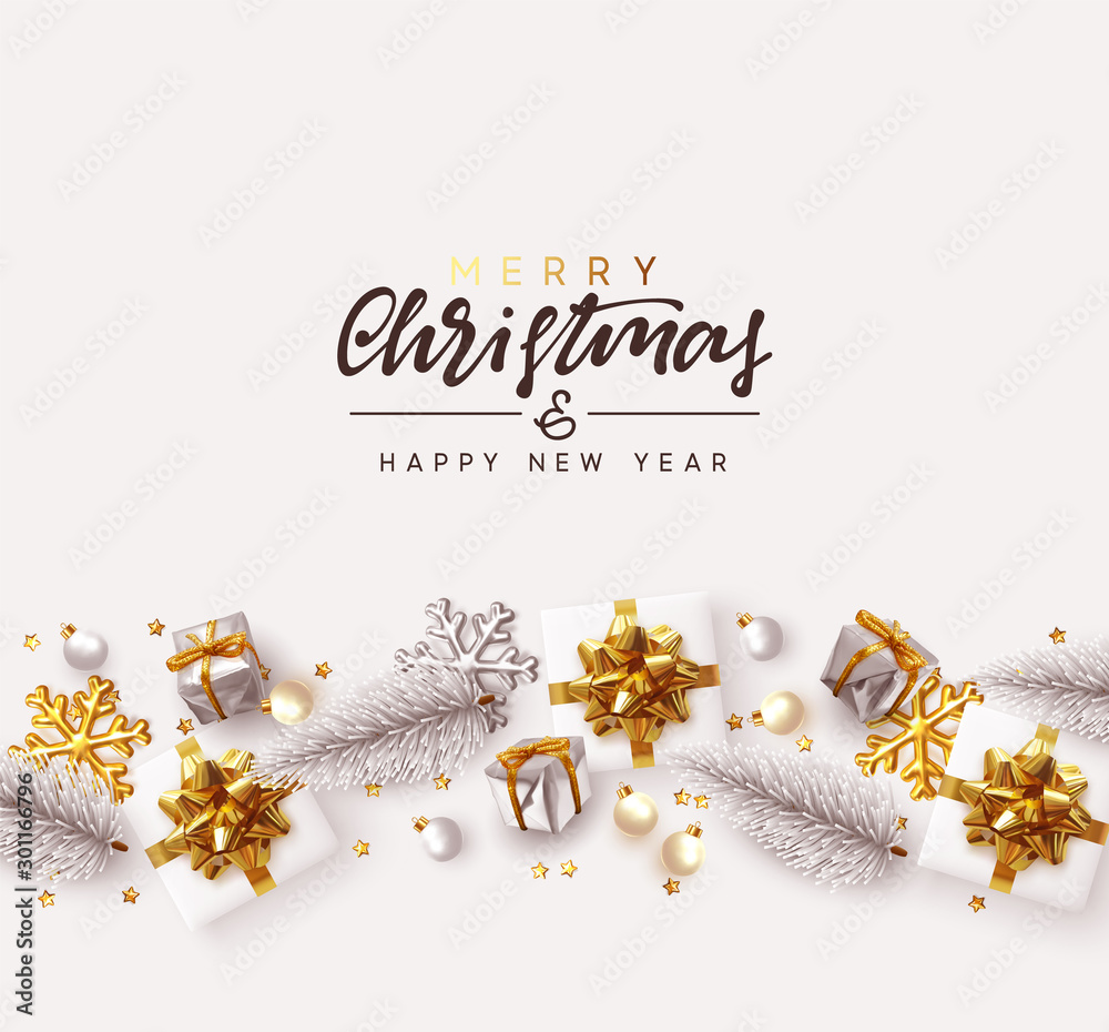 Fototapeta Merry Christmas and Happy New Year. Decorative Christmas Ornaments, realistic gift boxes, 3d snowflake, Xmas ball, lush pine tree. Silver and white color Holiday decoration. Decor Border from objects