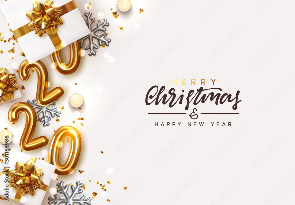 Fototapety, obrazy: Gold 2020 Happy New Year. Decorative Christmas Ornament, realistic gift boxes, 3d snowflake, Xmas ball, lush pine tree. Glitter golden confetti, old clock. Holiday decoration. Decor Border from object