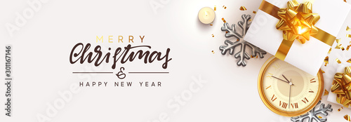 Christmas banner. Happy New Year Background Decorative Christmas Ornaments, realistic gift boxes, 3d snowflake, Xmas ball, lush pine tree. Glitter gold confetti. Holiday decoration. Decor Border