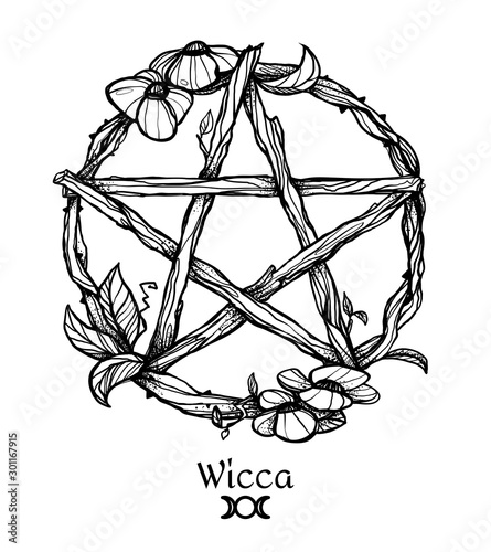 Photo  Wiccan element. Graphic pentagram with flowers and leaves.