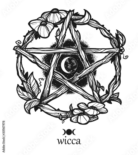 Wiccan element. Graphic pentagram with flowers and leaves. Canvas Print