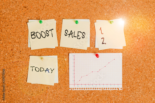 Photo  Conceptual hand writing showing Boost Sales