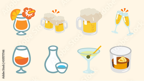 Photo Vector alcohol drinks set. Flat illustrations