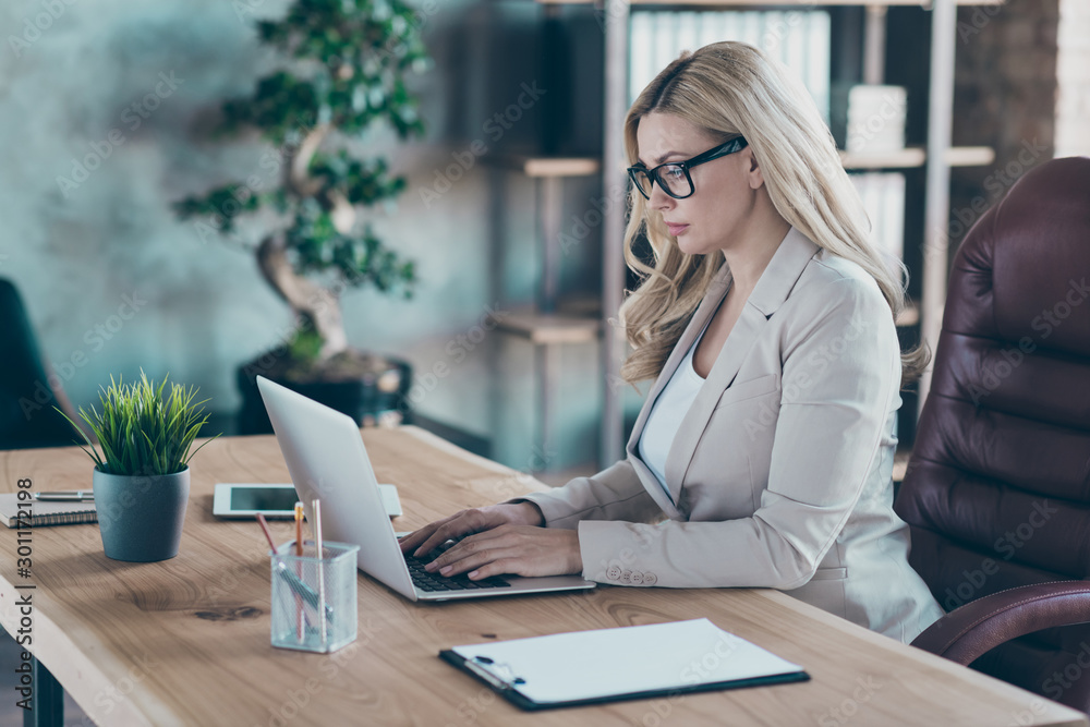 Fototapety, obrazy: Profile photo of amazing blond business lady resourceful person looking seriously notebook texting colleagues sit boss chair formalwear blazer in modern office