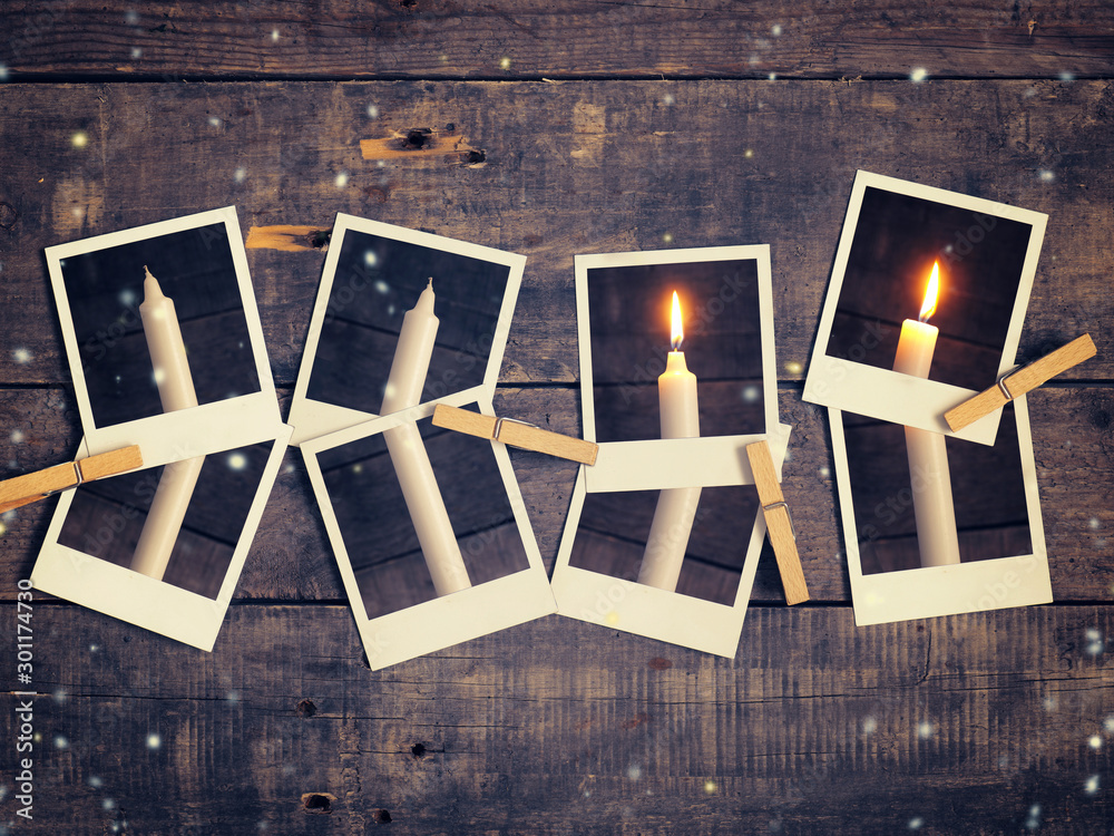 Fototapeta First candle burning, Advent background
