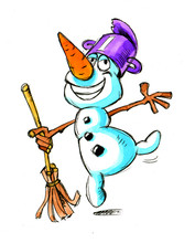 Cute Snowman Mascot Dancing With Pot On His Head And Broom In Hand