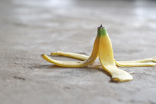 Banana Peels On The Cement Floor May Cause Slipping.
