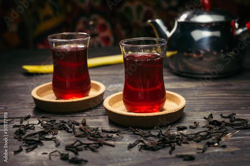Recess Fitting Tea delicious turkish tea on wooden table