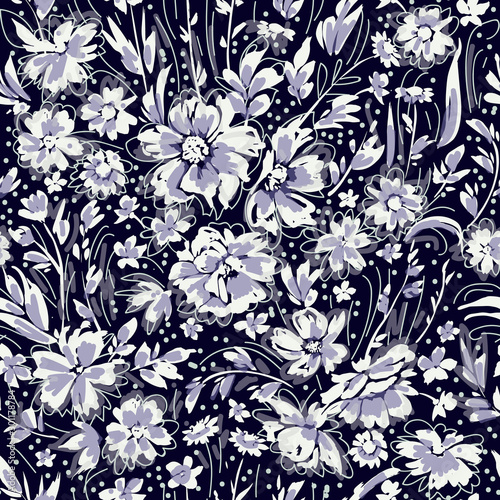 Monochrome cute floral seamless pattern with daisies, briar and wild flowers © Maria
