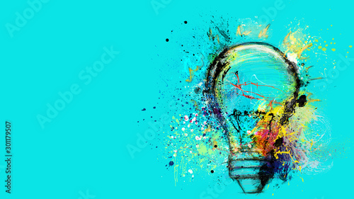 Obraz Big stylized light bulb on cyan background drawn with splashes of colored paint. Concept of innovation and creativity - fototapety do salonu