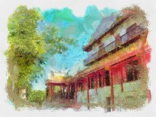 Ancient Buildings Chinese Style Architecture  Illustration Creating Impressionist Painting.