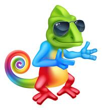 A Cool Chameleon Lizard Cartoo...