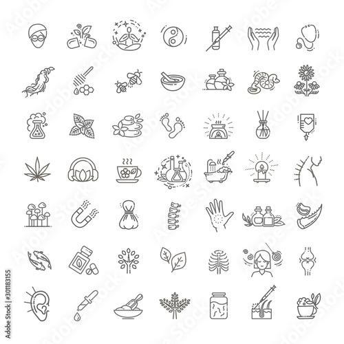 Cuadros en Lienzo  Set of vector illustrations of different kinds of alternative medicine