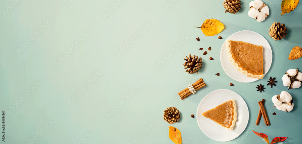 Fototapety, obrazy: Autumn theme with pumpkin pies - overhead view