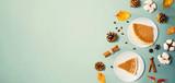 Fototapeta Kawa jest smaczna - Autumn theme with pumpkin pies - overhead view