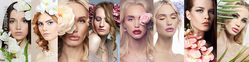 Stampa su Tela  beauty collage of beautiful women with Flowers