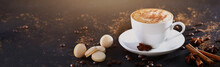 White Cup With Coffee On A Gra...