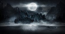 Futuristic Night Landscape With Abstract Landscape And Island, Moonlight, Shine. Dark Natural Scene With Reflection Of Light In The Water, Neon Blue Light. Dark Neon Background. 3D Illustration