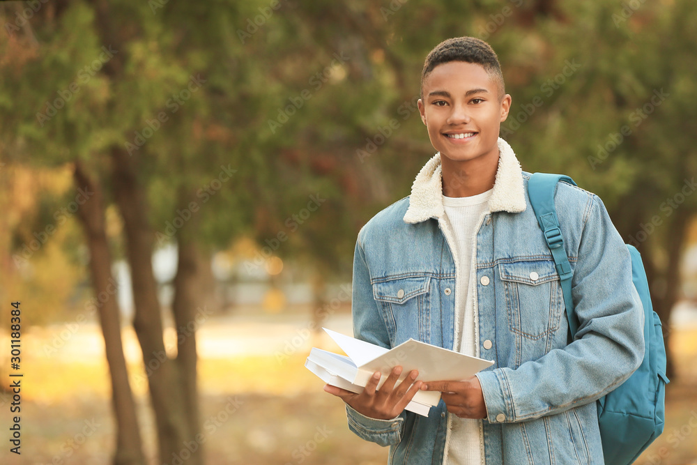 Fototapeta Portrait of teenage African-American student outdoors