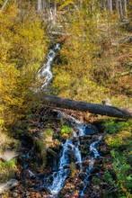 Waterfall On White Opava In Autumn In Jesenik, Jeseniky, Czech, Bila Opava