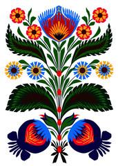 Obraz na Szkle Do restauracji Colorful traditional Polish folk ornament.