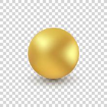 3d Golden Bead Transparent Background