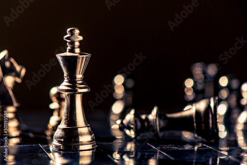 Photographie chess board game for ideas and competition and strategy, business success concep