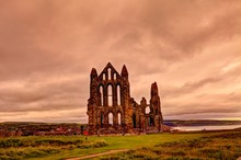 Medieval Ruin Of Whitby Abbey In North Yorkshire, Great Britain.
