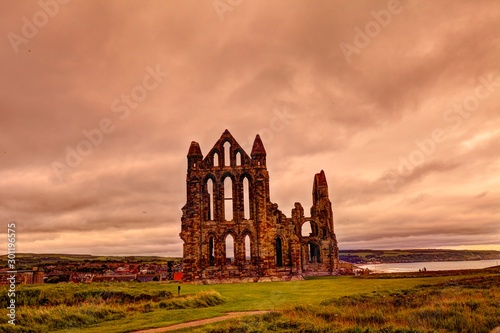 Medieval ruin of Whitby Abbey in North Yorkshire, Great Britain. Canvas Print