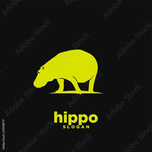 Gold hippo logo icon design vector illustration Wallpaper Mural