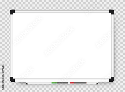 Empty white marker board on transparent background Canvas
