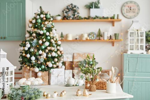 Christmas decor in kitchen Slika na platnu