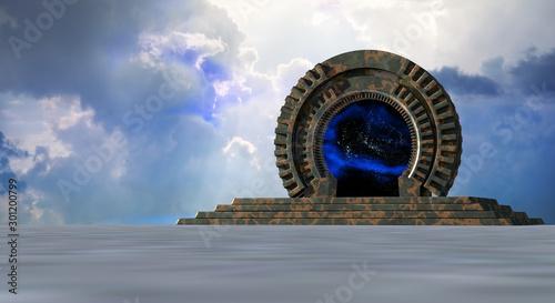 Obraz Space Gate into other world 3d rendering - fototapety do salonu