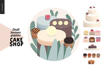 Cake Shop, Cakes On Demand - Small Business Graphics - Menu Icon -modern Flat Vector Concept Illustrations - A Round Badge With Some Cakes, The Range Of Cakes, Tarts, Cupcakes - Set