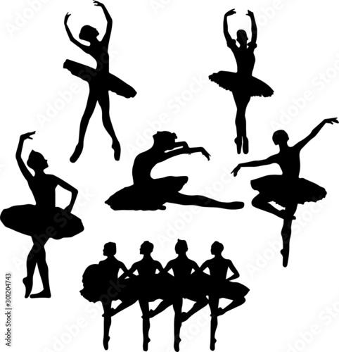 ballet silhouette eps vector illustration, nutcracker, swan lake, ballet workout Canvas Print