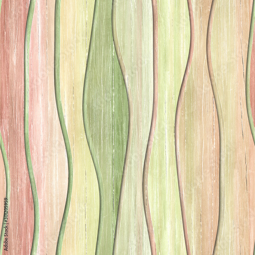 Fototapeta drewno  wood-seamless-texture-with-waves-pattern-pastel-color-3d-illustration