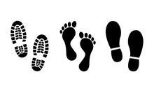 Footsteps Icon Set. Shoes Foot...