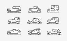 Retro Cars Icon Set. Transport...