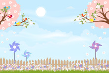 Cute Cartoon Card For Spring S...