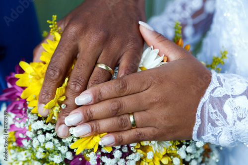Photo  United hands and wedding rings